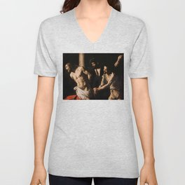 Christ at the Column by Caravaggio (1607) Unisex V-Neck