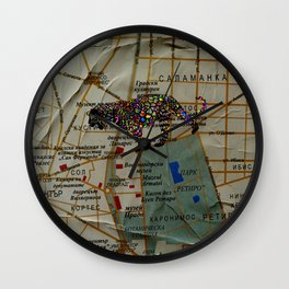 city map with jaguars Wall Clock