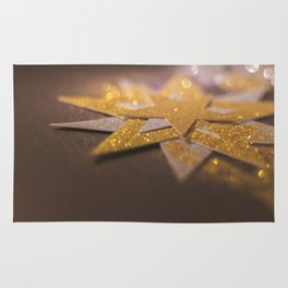 Gold and silver sparkly star design Rug