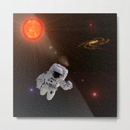 Astronaut Sun Stars Metal Print