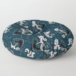 Pearla the Mermaid Riding on a Seahorse Floor Pillow