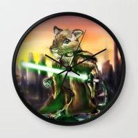 jedi Wall Clocks featuring Gerbil Jedi by Wesley S Abney