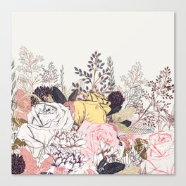 Miles and miles of rose garden. Retro floral pattern in vintag style Canvas Print