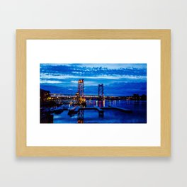 Night Bridge Lights Framed Art Print
