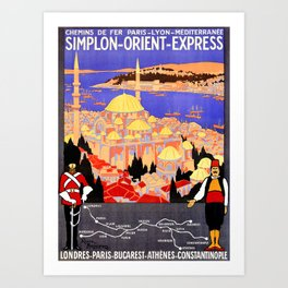 Vintage Simplon Orient Express London Constantinople Art Print