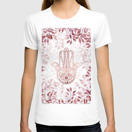 Modern burgundy faux rose gold Hamsa Hand of Fatima floral T-shirt