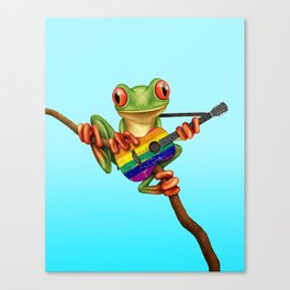 Tree Frog Playing Acoustic Guitar with Gay Pride Rainbow Flag Canvas Print