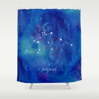 constellation Shower Curtains featuring Constellation Aquarius by ShaMiLa