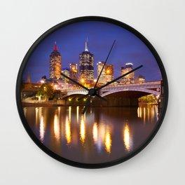 II - Skyline of Melbourne, Australia across the Yarra River at night Wall Clock