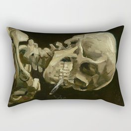 Vincent van Gogh - Skull of a Skeleton with Burning Cigarette Rectangular Pillow