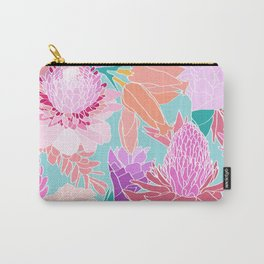 Pastel Ginger Garden in Aqua Carry-All Pouch