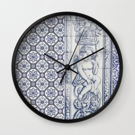 Tiles Angel Carrying Flowers Wall Clock