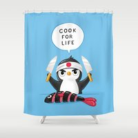 chef Shower Curtains featuring Penguin Chef by Freeminds