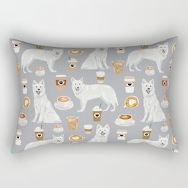 White Shepherd dog breed White German Shepherd grey coffee coffees pet friendly turquoise Rectangular Pillow