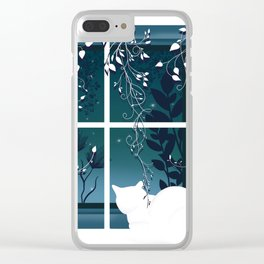 White Kitty Cat Window Watcher Clear iPhone Case