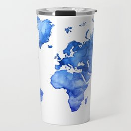 Cobalt blue watercolor world map Travel Mug