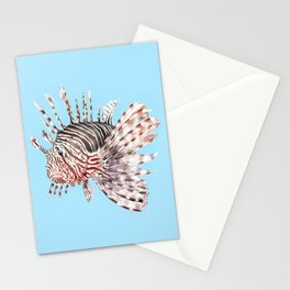 Watercolor Lionfish Tropical Fish Marine Life Painting Stationery Cards