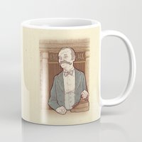 wes anderson Mugs featuring Monsieur Ivan or Bill Murray on The Grand Budapest Hotel from Wes Anderson by suPmön