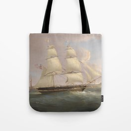 Vintage Fleet of Sailboats Painting (1845) Tote Bag