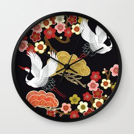 Japanese crane bird hand drawn illustration pattern on dark background.  Wall Clock