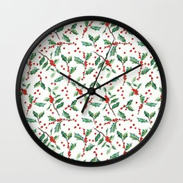 Festive Holly Pattern Wall Clock