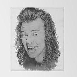 Portrait of Harry Styles Throw Blanket