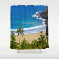 hawaiian Shower Curtains featuring Hawaiian beach by Ricarda Balistreri
