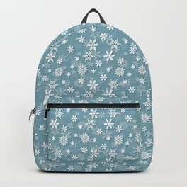 Christmas Icy Blue Velvet Snow Flakes Backpack