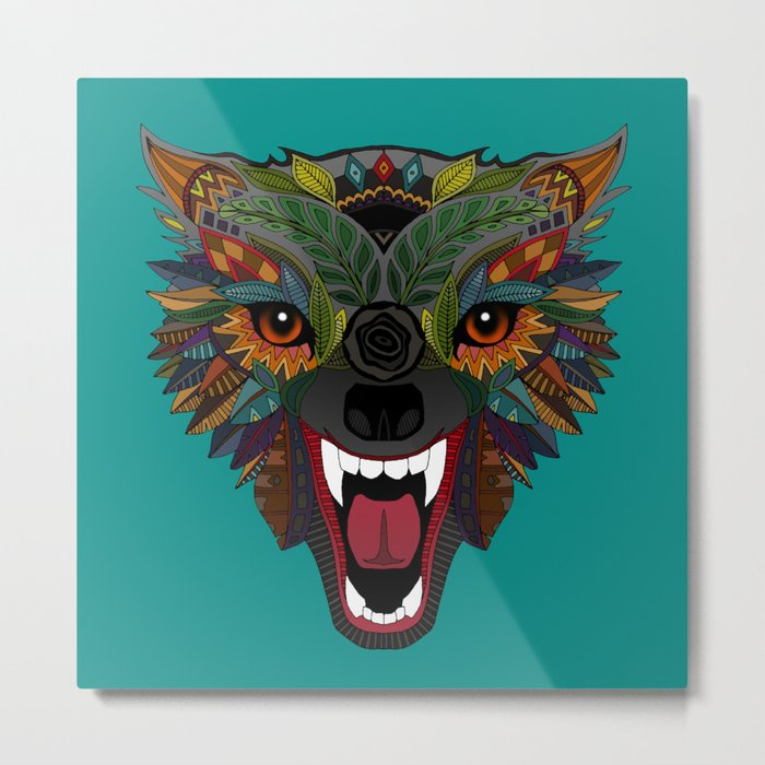 wolf fight flight teal Metal Print