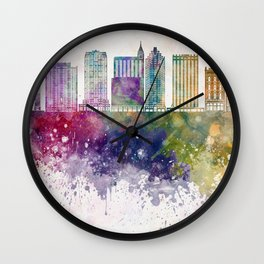 Raleigh V2 skyline in watercolor background Wall Clock