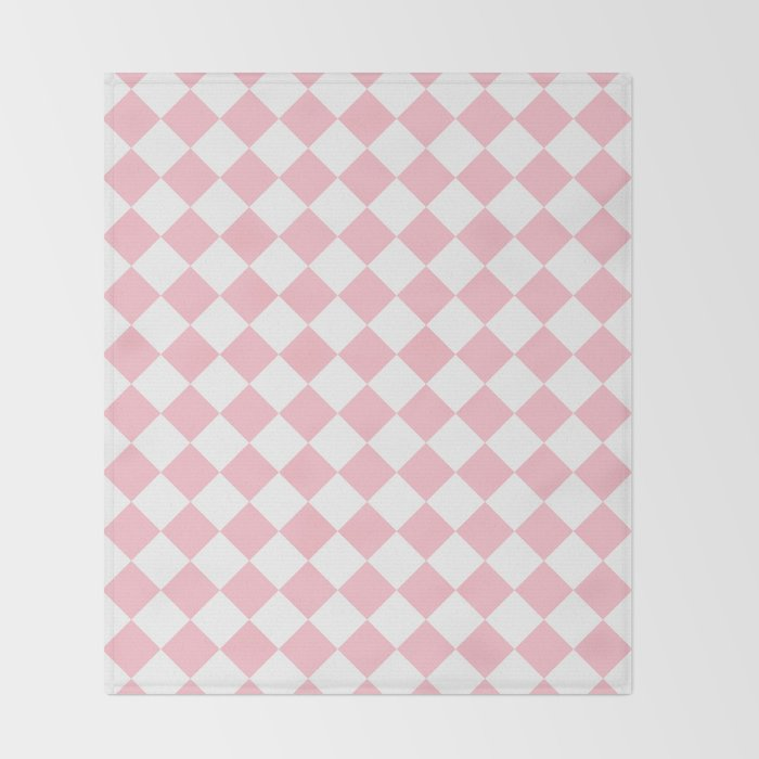 Diamonds - White and Pink Throw Blanket