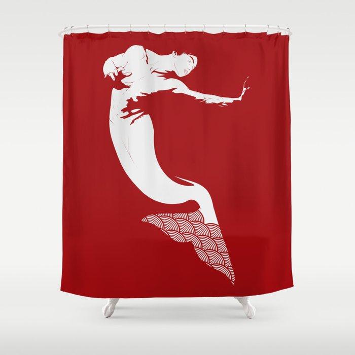 Merman - Red & White - Mermay 2019 Shower Curtain