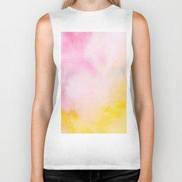 Yellow blush pink watercolor abstract brushstrokes pattern Biker Tank
