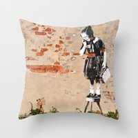 banksy Throw Pillows featuring Banksy - Girl on Stool by Brandon Funkhouser
