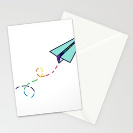 Rainbow Paper Plane Stationery Cards