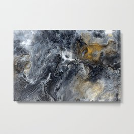 Black Gold & White Abstract Art I Metal Print