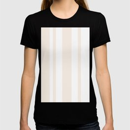 Mixed Vertical Stripes - White and Linen T-shirt