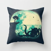 squid Throw Pillows featuring The Big One by Jay Fleck