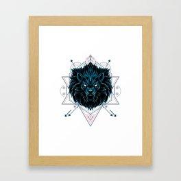 The Wild Lion sacred geometry Framed Art Print