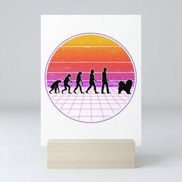 Samoyed Evolution Vaporwave Sled Dog 70's Mini Art Print