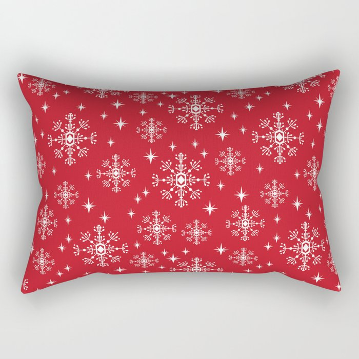 Snowflakes winter christmas minimal holiday red and white decor gifts Rectangular Pillow