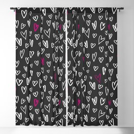 Hand drawn hearts on black background Blackout Curtain