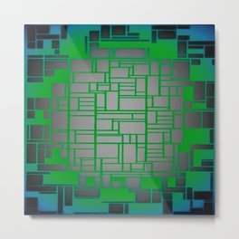 Teal Green Art Deco Pattern Metal Print