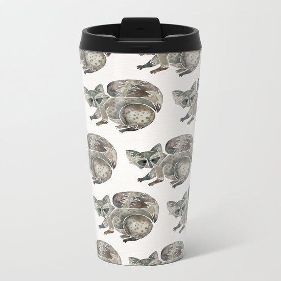 Raccoon – Warm Grey Palette Metal Travel Mug