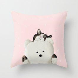 Cat Hug Me! Throw Pillow