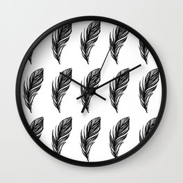 Black and White Feather Pattern Wall Clock