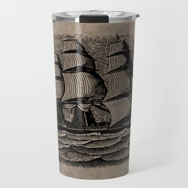 Vintage Sailing Ship - Antique Book Plate Etching - Retro Style Brown and Black Travel Mug