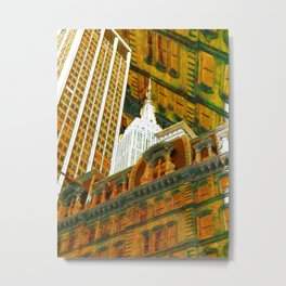 New York City Up Is Down Down Is Up Gold Metal Print