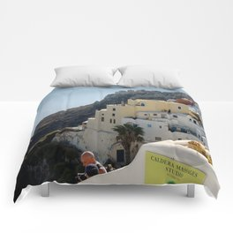 Grece Santorini Oia Village | Ville Oia Comforters