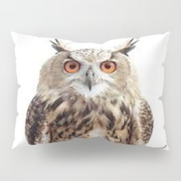 WILDERNESS BROWN OWL IN WHITE Pillow Sham